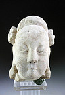 Choice Sandstone head of Female Taoist deity, Tang-Song Dyn.
