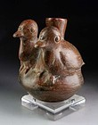 Pre-Columbian Vicus pottery figural vessel - two dows!