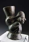 Moche / Chimú Pre-Columbian blackware pottery vessel, 1st. mill.BC