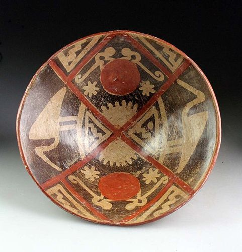 Large Pre-columbian Narino pottery pedestal bowl w monkeys and birds