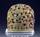 Ming Dynasty Chinese Nephrite Jade carving, finial, ca. 17th. Cent