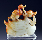Superb Chinese White & Russet Jade carving of duck with duckling!