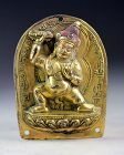 Rare antique gilt bronze plaque w Sino-Tibetan Guardian!