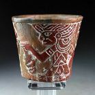 Carved Mayan Pottery Cup Cylinder Late Classic, Ca. 600-900 AD.