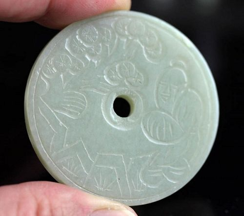 Choice Chinese Pale Celadon Jade carving of Bi Disc!