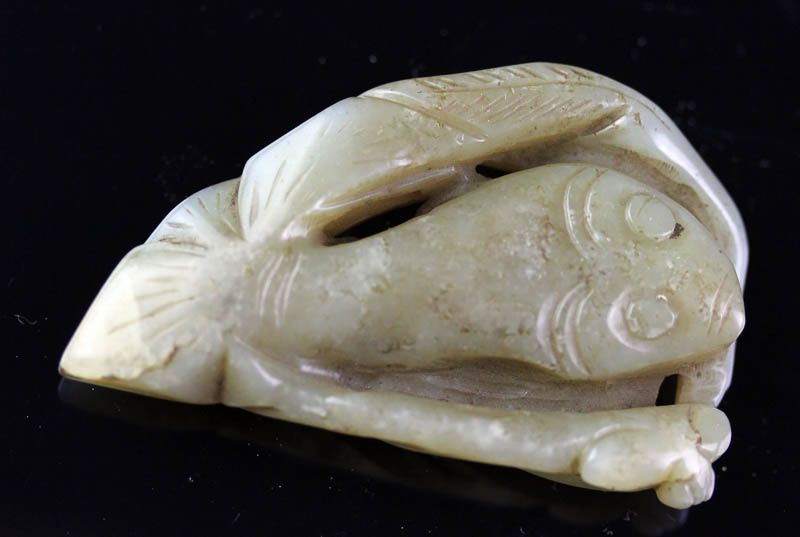 Chinese Jade Nephrite carving pendant of two fishes!
