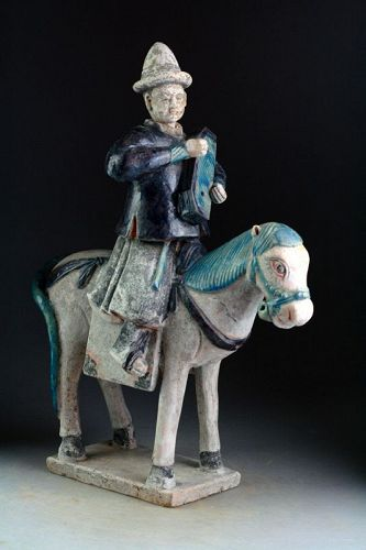 Superb & XL Ming Dynasty pottery horse rider attendant, 14th-15th cent
