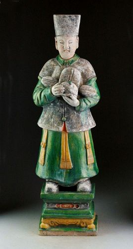 XXL & rare Ming Dynasty tomb male pottery figure, attendant, 64 cm