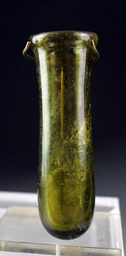Interesting Roman green glass jar, ca. 2nd. century AD