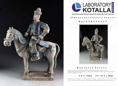 Superb Ming Dynasty tomb pottery officer Horseman w TL test
