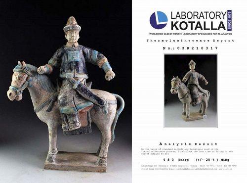 Choice Ming Dynasty Mandarin tomb pottery officer Horseman w TL test