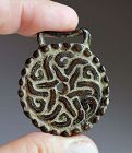 Superb decorated Islamic bronze belt plaque, 10th.-12th. cent