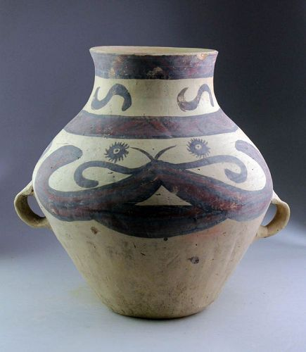 Huge Chinese Neolithic Machang  or Xindian Painted Pottery Jar