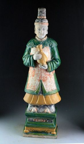 XXL Superb Ming Dynasty pottery figure lady attendant, 62-63 cm!