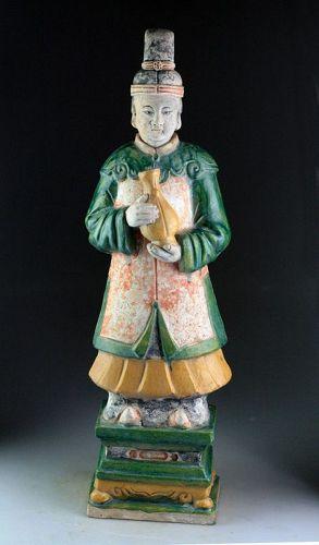 XXL Superb Ming Dynasty pottery figure lady attendant, 62-63 cm!