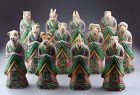 Rare coll. of 12 Chinese Zodiac pottery figures w. animal head!!