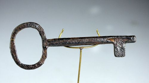 Beautiful Gothic Iron key with hexagonal stem, ca. 15th. century