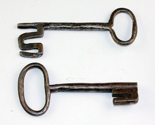 Pair of large Early European Iron keys, ca. 18th. century