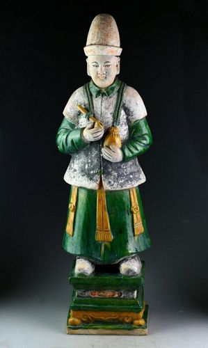 XXL Ming Dynasty tomb male pottery figure, attendant, 64 cm!