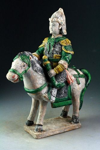 Large Chinese Ming Tomb pottery figure of horseman w. Sword!