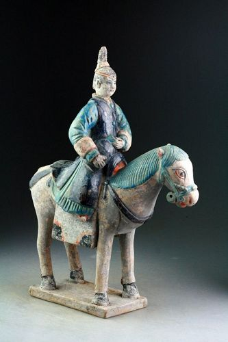 Rare & large Female pottery rider / attendant w. jar, Chinese Ming!
