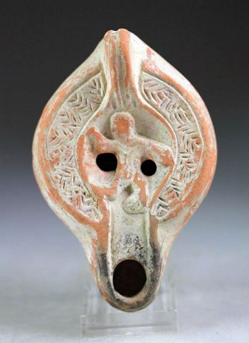 Choice Roman pottery Terracotta oil lamp, North African type!
