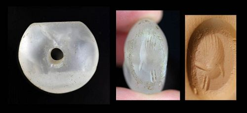 Rare Sassanian, Sassanid Dynasty Rock Crystal Stamp seal!