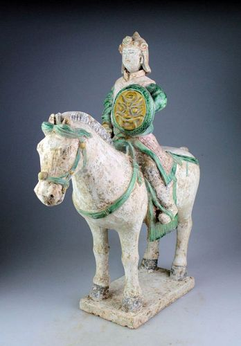 Chinese Tomb pottery Horseman, Ming Dynasty w. TL test (540 years)!