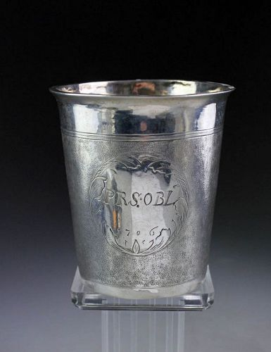 Rare Early North European Silver Baroque Beaker dated 1706!