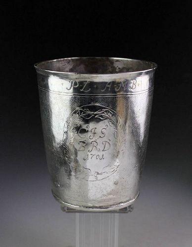 Spectacular North European Baroque Silver Beaker, dated 1701!