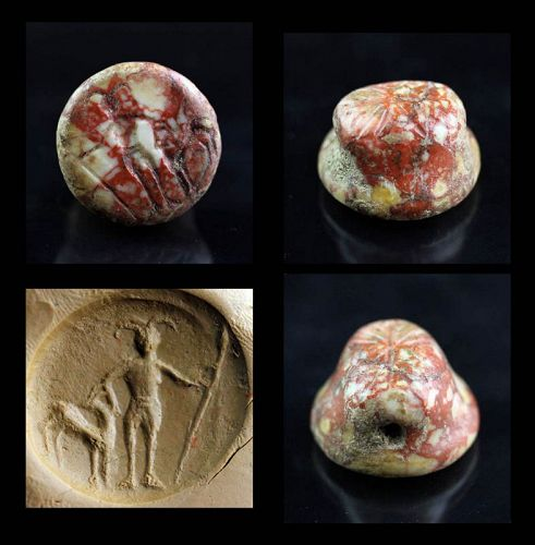 Exceptional stamp seal in Jasper, Hittite 2nd. mill. BC!