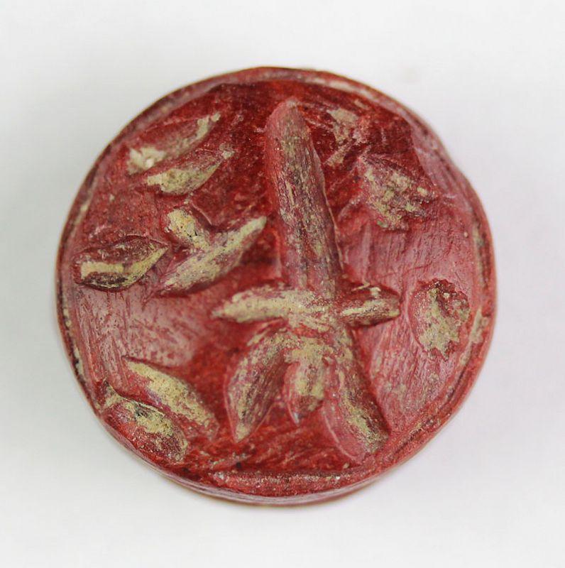 Superb Red Jasper Hittite inscribed button seal, 14th.-13th. cent. BC