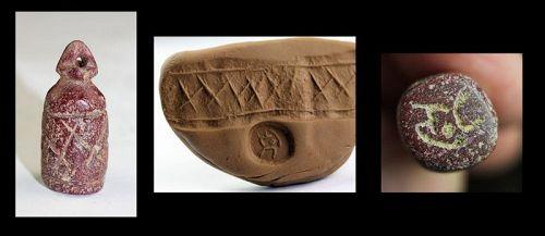 Rare Urartu Stone stamp & Cylinder seal, ca. 9th.-7th. century BC