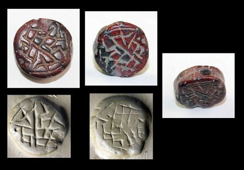 Rare large Bifacial Hittite inscribed stone seal, later 2nd. mill. BC