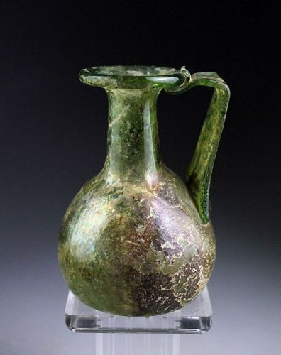 Substantial Roman green Glass Jug w irridescence, 1st.-3rd. cent AD