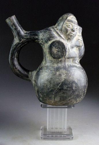 Rare Pre-Columbian Chimú Blackware pottery vessel w TL report
