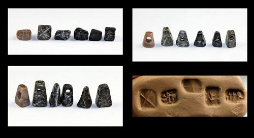 Lot of 6 stone stamp seal, Anatolian-Levantine, 1st. mill. BC