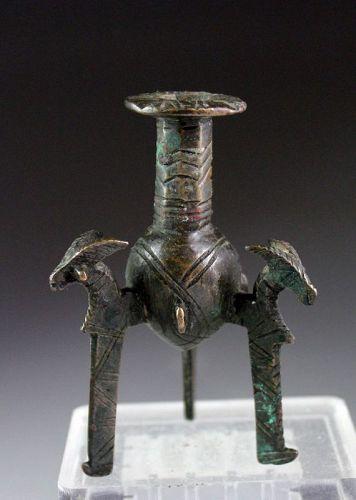 Superb Early Islamic bronze Kohl vessel w Goat terminals