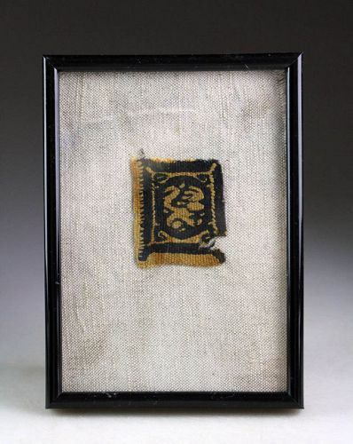 Framed Coptic Christian textile, Egypt, ca. 4th.-6th. century AD
