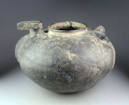 Large and rare Amlash grey ware zoomophic pottery vessel!