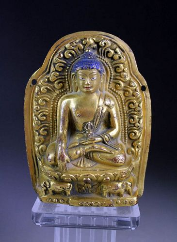 High quality Sino-Tibetan Gilt bronze plaque of Buddha!