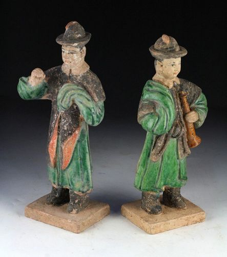 Beautiful set of 2 Ming Dynasty pottery attendants. Rare Types!