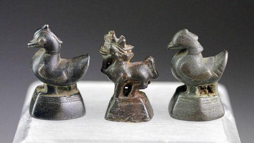 Lot of three fine antique Burmese Opium Weights, 5 Ticals!