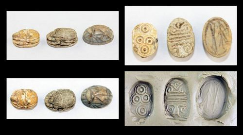 Lot of three Egyptian Steatite scarab seals, 2nd. millenium BC