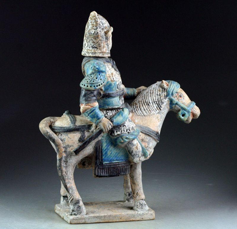Scarce Chinese Ming Tomb pottery figure of horseman w Helbard!