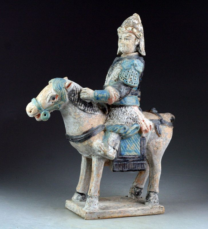 Scarce Chinese Ming Tomb pottery figure of horseman w Helbard!
