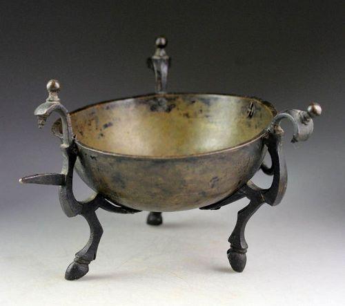 Interesting and rare European bronze incense burner, 17th. cent.!