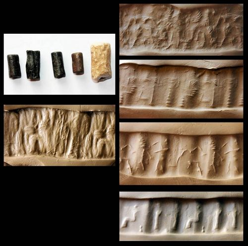 Wonderful lot of 5 Babylonian cylinder seals - Bonanza!