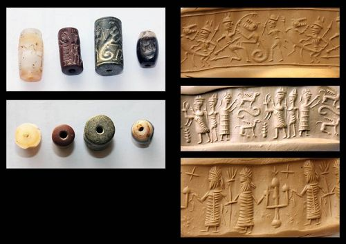 Lot of 4 unidentified Asian Near East Cylinder seals and beads