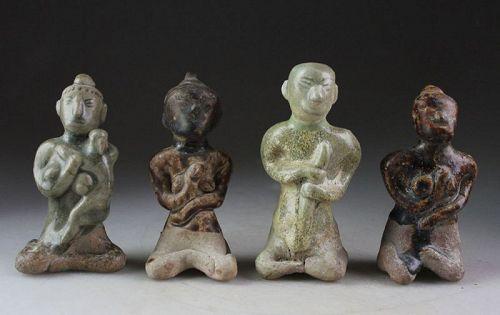 Four Thai, Thailand pottery fertility Figurines, 15th. century!